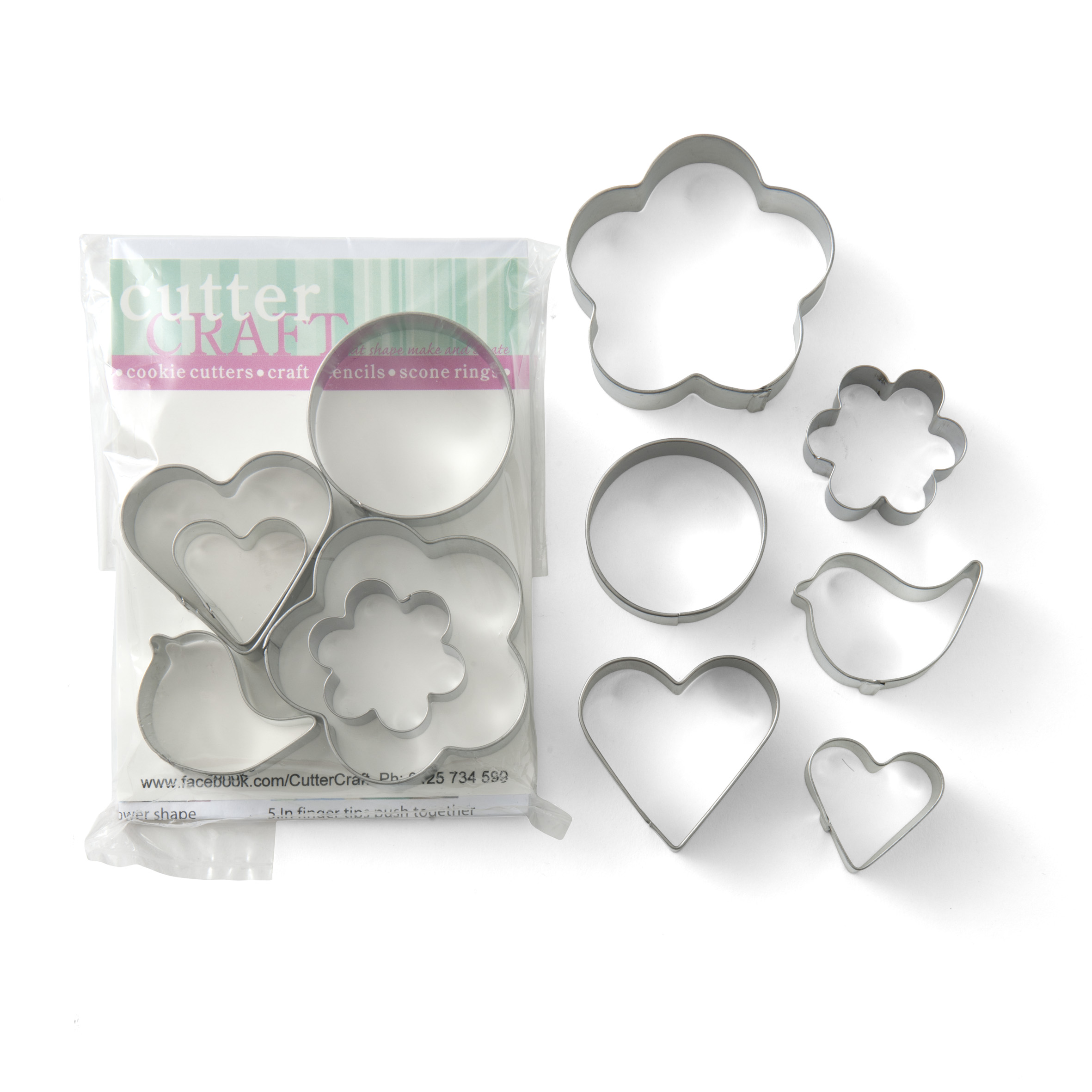 Bird and shapes cookie cutter set