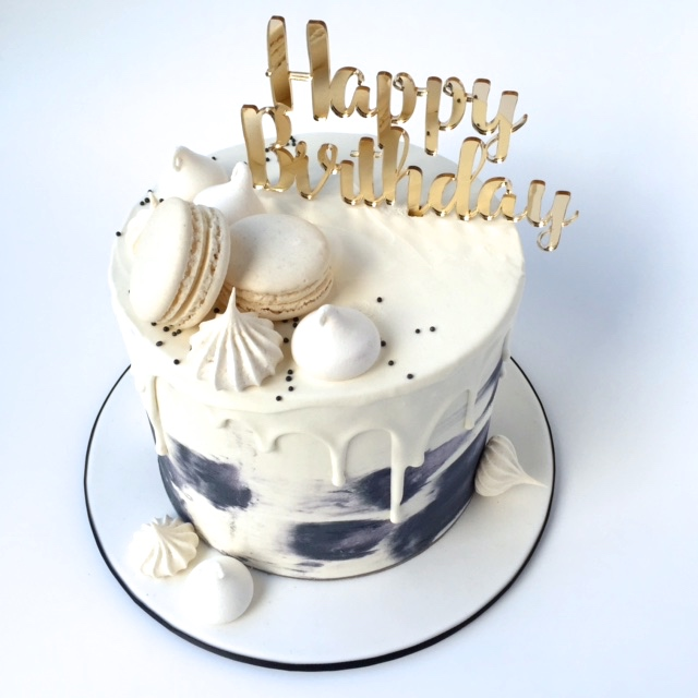 Happy birthday acrylic cake topper gold silver white black grey ...
