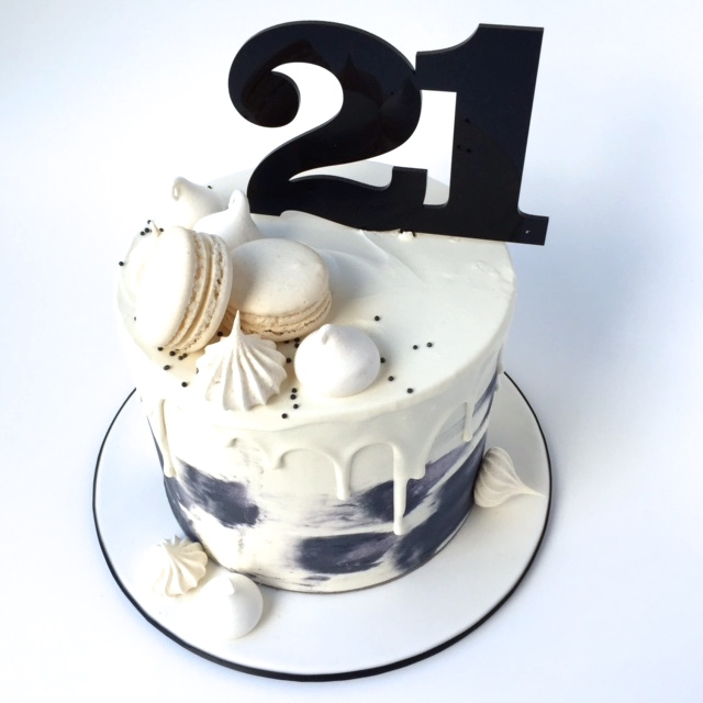 Number 21 Acrylic Cake Topper Gold Silver White Black Grey
