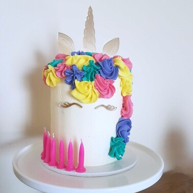 29c51f643af8c 9.5cm Unicorn horn, ears and face cake topper set small ~ Gold or silver ~  UNI02