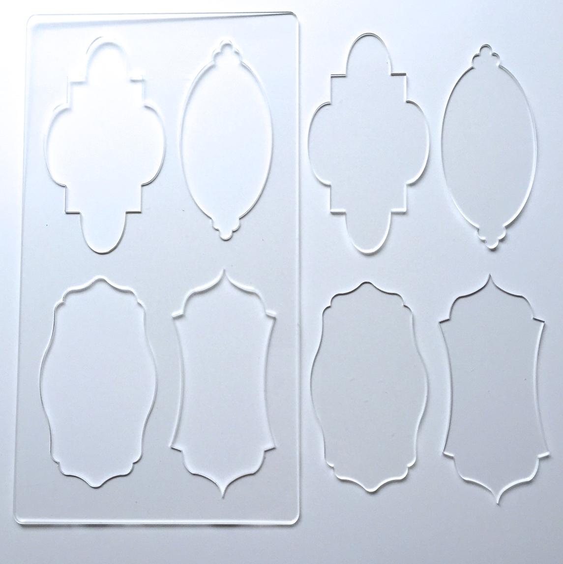 Acrylic Cake Plaque Panel Shape Template Set 7 Cuttercraft