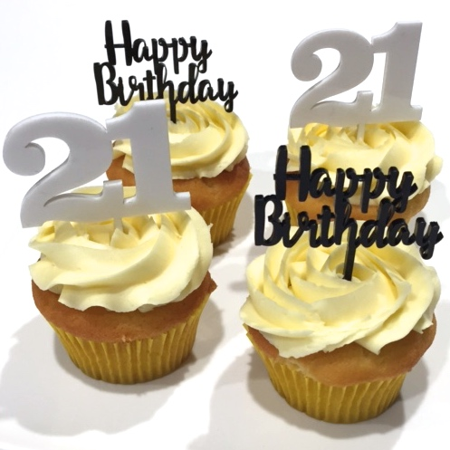 Number 21 Acrylic 6pk Cupcake Toppers Gold Silver White Black Grey