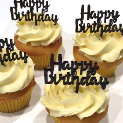 Happy Birthday Acrylic Cake Topper Gold Silver White Black