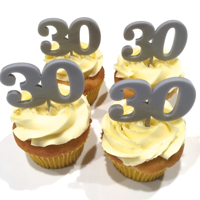 Number 30 Acrylic 6pk Cupcake Toppers Gold Silver White