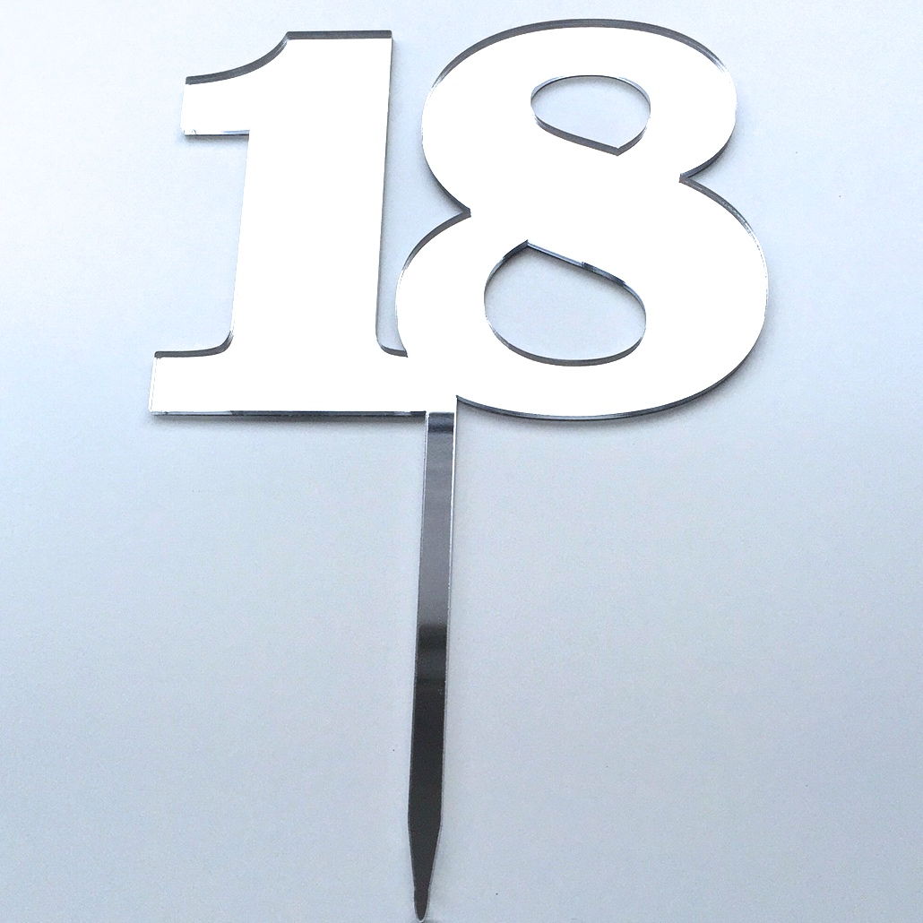 Number 18 Acrylic Cake Topper Gold Silver White Black Grey