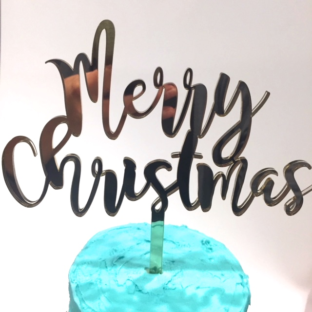 Merry Christmas Cake Topper 5 Silver Funky Font Acrylic Mc01
