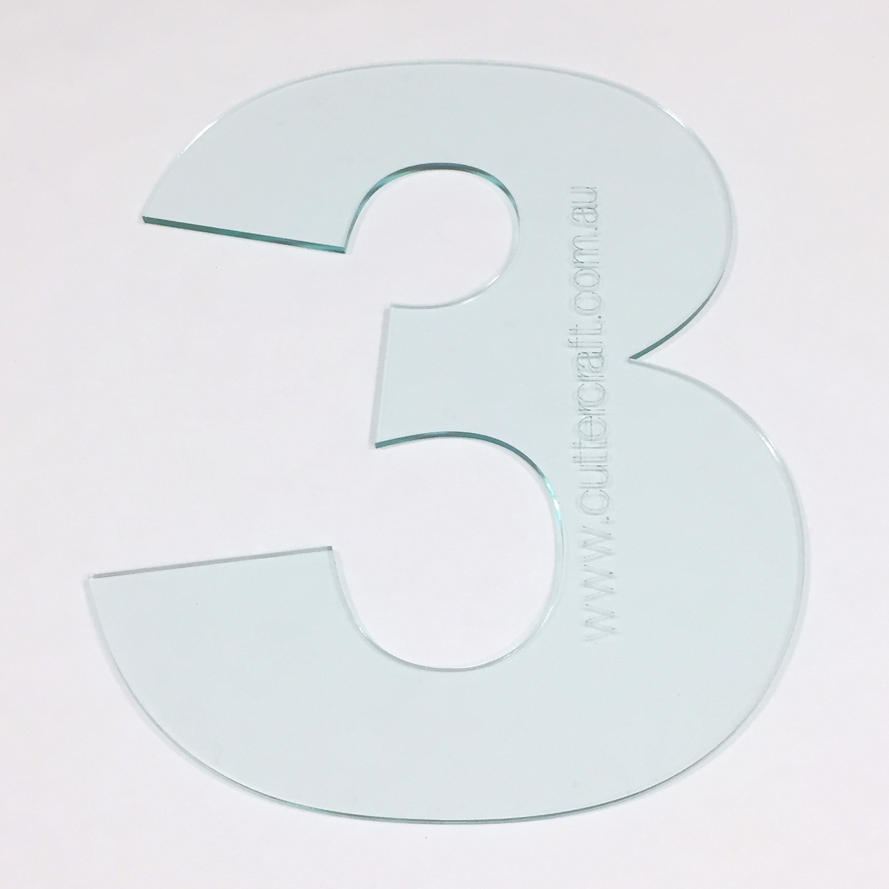 20cm high number 3 three 3 acrylic large template wide font zoom maxwellsz