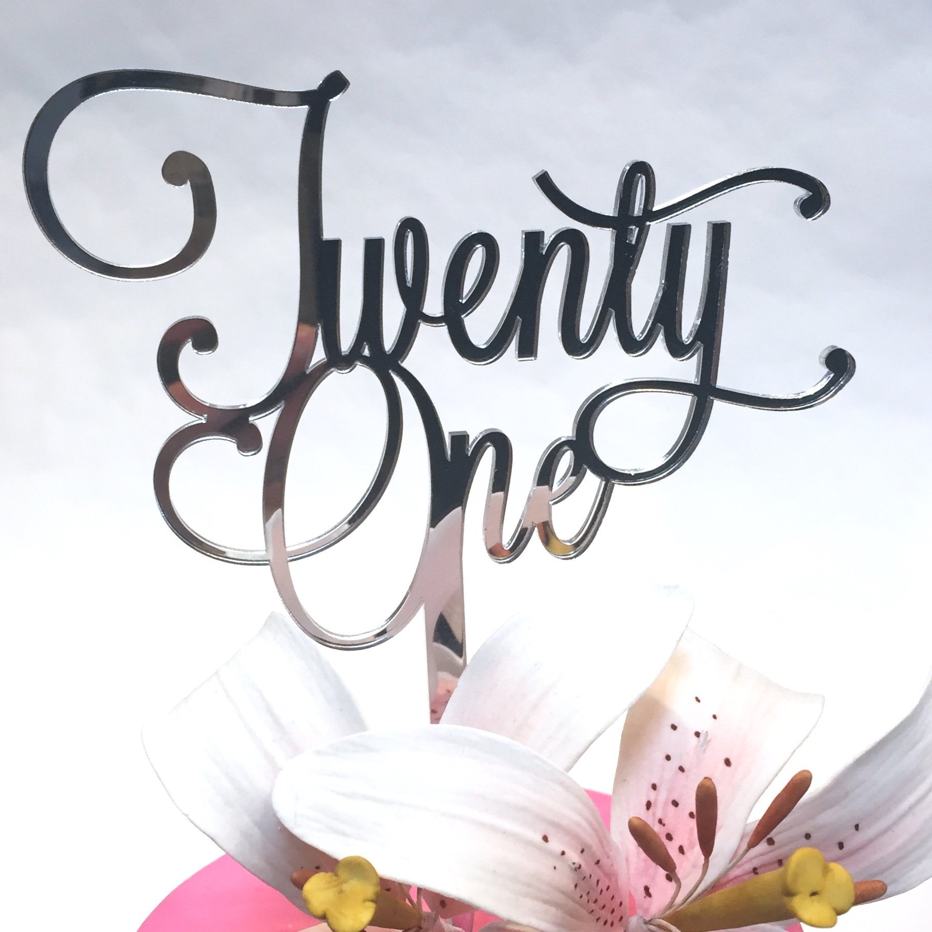 Twenty One 21 Acrylic Cake Topper Gold Silver White Black