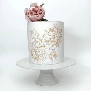 NEM420 Cake Embosser Stencil Large Peony Flower Handmade 3