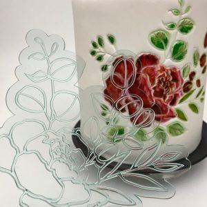NEM439 Cake Embosser Stencil Peony Single Flower Handmade 3